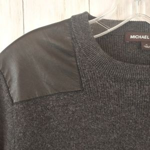 MICHAEL KORS Merino Wool Leather Patch Sweater M